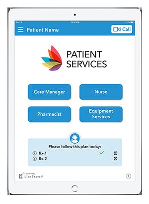 Live Expert Mobility iPad Patient Services Home Menu