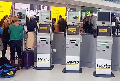 Live Expert Station Hertz Kiosks at Airport